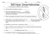 Bill Nye Invertebrates Video Worksheet