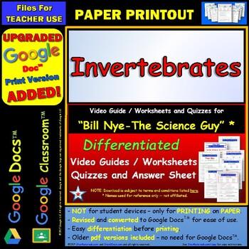 Differentiated Video Worksheet, Quiz & Ans. for Bill Nye - Invertebrates *