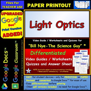 Differentiated Video Worksheet, Quiz & Ans. for Bill Nye - Light Optics *