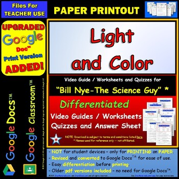 Differentiated Video Worksheet, Quiz & Ans. for Bill Nye - Light and Color *