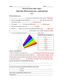 Bill Nye Science Guy Movie: Light & Colors. Video Worksheet - Fun + Knowledge!