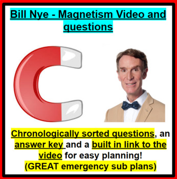 Bill Nye - Magnetism Video Questions and Answer Key GREAT SUB PLANS!