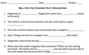 Bill Nye Magnetism Video Worksheet by Mayberry in Montana | TpT