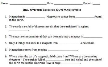 Bill Nye Magnetism Video Worksheet
