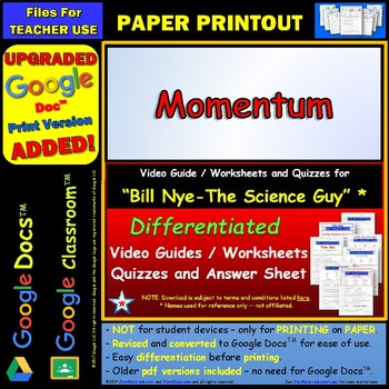 Differentiated Video Worksheet, Quiz & Ans. for Bill Nye - Momentum *