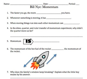 Bill Nye Momentum Video Worksheet (Great for Motion & Forces) | TpT