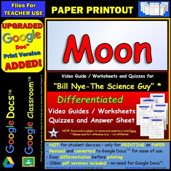 Differentiated Video Worksheet, Quiz & Ans. for Bill Nye - Moon *