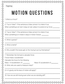 Video Worksheet Bill Nye Motion