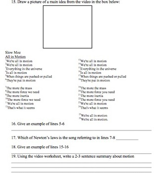 Bill Nye Motion Video Worksheet by Mayberry in Montana | TpT