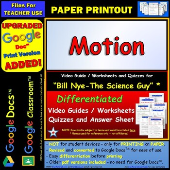 Differentiated Video Worksheet, Quiz & Ans. for Bill Nye - Motion *