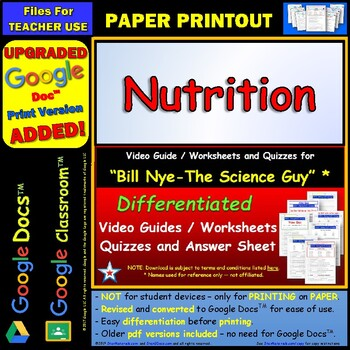 Differentiated Video Worksheet, Quiz & Ans. for Bill Nye - Nutrition *