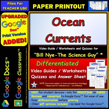 Differentiated Video Worksheet, Quiz & Ans. for Bill Nye - Ocean Currents *
