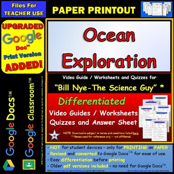 Differentiated Video Worksheet, Quiz & Ans. for Bill Nye - Ocean Exploration  *