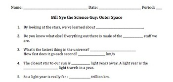 Bill Nye Outer Space Video Worksheet by Mayberry in Montana | TpT