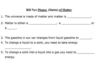 Bill Nye Phases of Matter Video Worksheet by Mayberry in ...