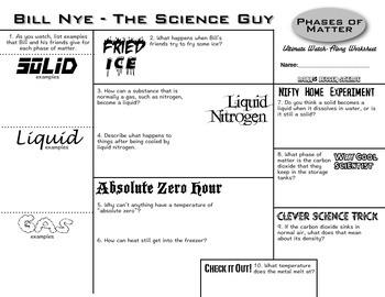 Bill Nye Phases Of Matter Ultimate Watch Along Worksheet Tpt Bill Nye Matter Sheet Guide Bill Nye Phases Of Matter Ultimate Watch Along Worksheet