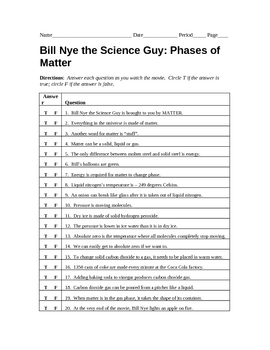 Bill nye phases of matter quiz