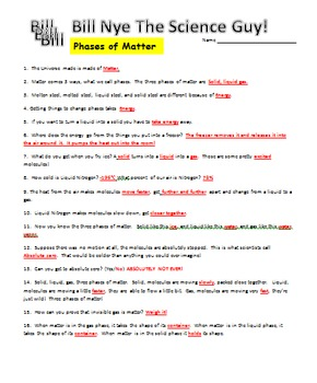 Bill Nye Phases of Matter Video Worksheet