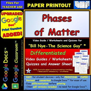 Differentiated Video Worksheet, Quiz & Ans. for Bill Nye - Phases of Matter *