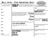 Bill Nye - Planets - Ultimate Watch-Along Worksheet (Episode Questions)