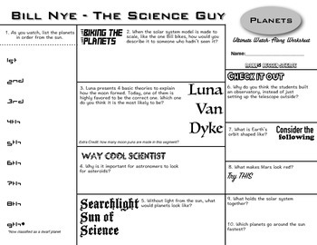 Bill Nye - Planets - Ultimate Watch-Along Worksheet (Episo