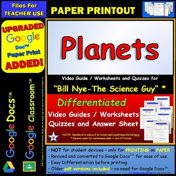 Bill Nye - Planets  – Worksheet, Answer Sheet, and Two Quizzes .