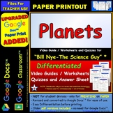 Video Guide, Quiz for Bill Nye - Planets * PRINTING Google Doc™