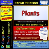 Bill Nye - Plants – Worksheet, Answer Sheet, and Two Quizzes.