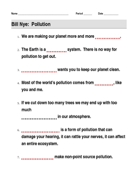 bill nye pollution video guide sheet by jjms teachers pay teachers. Black Bedroom Furniture Sets. Home Design Ideas