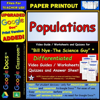 Bill Nye - Populations – Worksheet, Answer... by Star Materials ...
