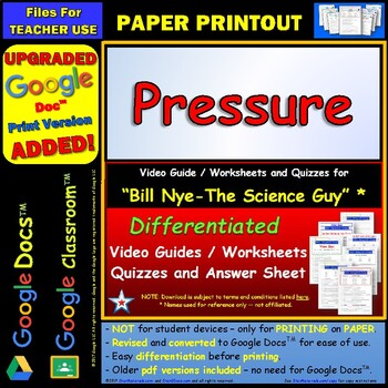 Differentiated Video Worksheet, Quiz & Ans. for Bill Nye - Pressure *