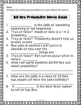 Video Worksheet Bill Nye Probability