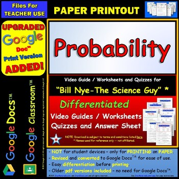 Bill Nye - Probability – Worksheet, Answer... by Star Materials ...