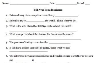 Bill Nye Pseudoscience Video Worksheet (Great intro to Scientific Method)