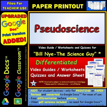 Differentiated Video Worksheet, Quiz & Ans. for Bill Nye - Pseudoscience *