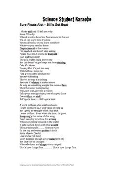 Bill Nye Questions- BUOYANCY -13Q's with key & Science Student Karaoke