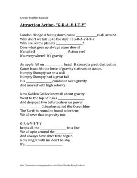 Bill Nye Questions-Gravity-16Q's, Key,& Science Student Karaoke