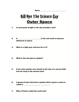 Bill Nye Questions-OUTER SPACE-14Q's, key, SCIENCE KARAOKE