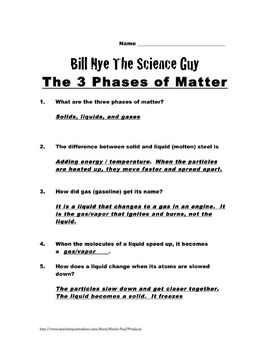 Bill Nye Questions-Phases of Matter-16 Questions, key, SCIENCE KARAOKE