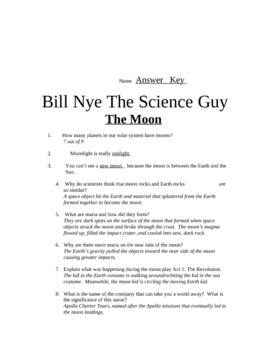 Bill Nye Questions-The Moon- 20Q's, science student KARAOKE, and key