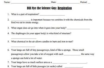 Bill Nye Respiration Video Worksheet