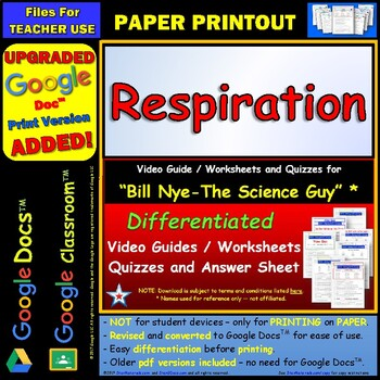 Differentiated Video Worksheet, Quiz & Ans. for Bill Nye - Respiration *