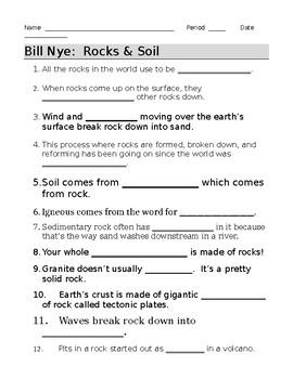 Bill Nye Rocks And Soil Video Guide Sheet By Jjms Tpt