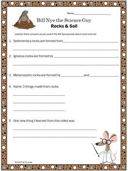 Rocks and Soil Video Response Form - Bill Nye the Science Guy