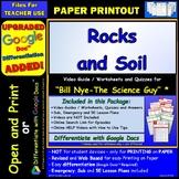 Video Guide, Quiz for Bill Nye – Rocks and Soil * PRINTING Google Doc™/pdf