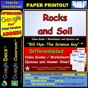 Bill Nye - Rocks and Soil – Worksheet, Answer... by Star Materials ...