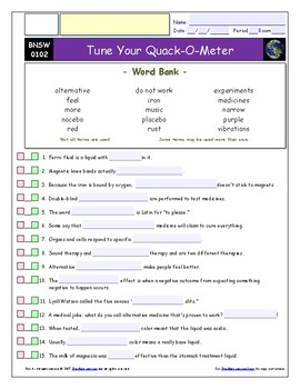 "Tune Your Quack-O-Meter – iPad Guide, Ans. and Quiz for ""Bill Nye Saves World""*"