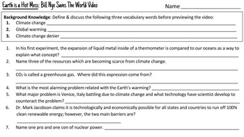 Bill Nye Saves the World: Earth is a Hot Mess Worksheet & Activities