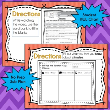 Bill Nye Science - Climates Video Guide Worksheets