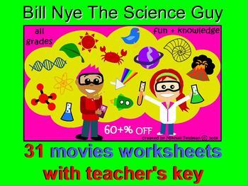Bill Nye Science Guy 30 Best Movies: Videos Worksheets & Key Bundle. 60% OFF!